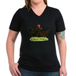 Barnevelder Chickens Women's V-Neck Dark T-Shirt