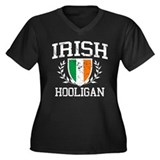 Irish Hooligan Women's Plus Size V-Neck Dark T-Shi