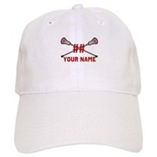 Personalized Crossed Lacrosse Sticks with Red Baseball Cap