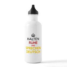 Halten Ruhe und Sprechen Deutsch Sports Water Bottle