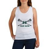 Personalized Crossed Lacrosse Sticks Green Women's