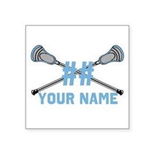 Personalized Crossed Lacrosse Sticks Columbia Blue