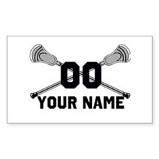 Personalized Crossed Lacrosse Sticks White Decal