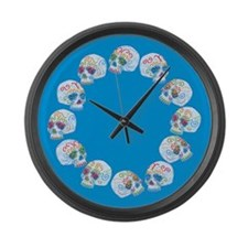 sugar-skull-allover_cl.png Large Wall Clock