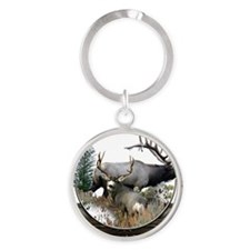 Big Game Elk and Deer Round Keychain