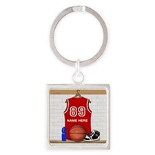Personalized Basketball Jerse Square Keychain