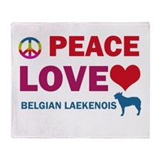 Peace Love Belgian Laekenois Throw Blanket