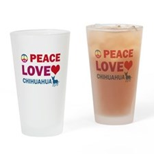 Peace Love Chihuahua Drinking Glass