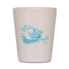 Bird Line Art Blue Shot Glass