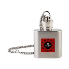 Red Pirate- Jolly Roger Flask Necklace