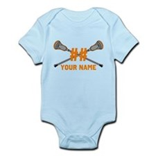 Personalized Crossed Lacrosse Sticks Orange Infant