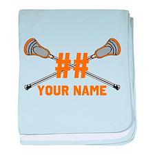 Personalized Crossed Lacrosse Sticks Orange baby b
