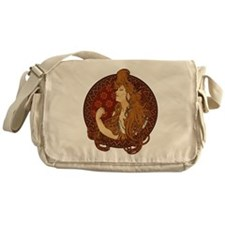 Art Nouveau Long Haired Woman Messenger Bag