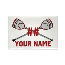 Personalized Crossed Goalie Lacrosse Sticks Red Re