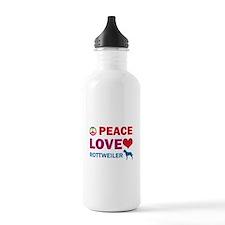 Peace Love Rottweiler Water Bottle