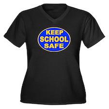 Keep School Safe Women's Plus Size V-Neck Dark T-S