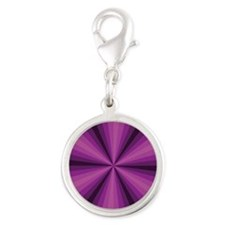 Purple Illusion Silver Round Charm