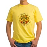 LionOfZion-Crowned, Ethio Clock Yellow T-Shirt