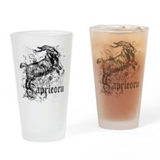 Worn Zodiac Capricorn Drinking Glass