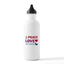 Peace Love Skye Terrier Water Bottle