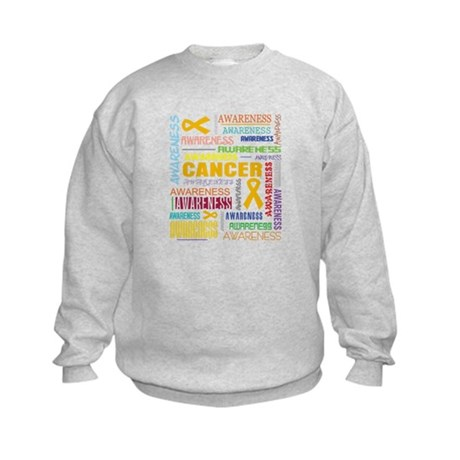 Appendix Cancer Awareness Collage Kids Sweatshirt