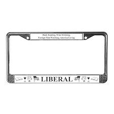 Book Wine Film USA Liberal License Plate Frame