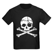 Crackled Skull And Crossbones T