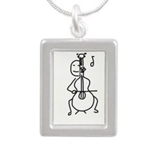 Palo Plays the Cello Silver Portrait Necklace
