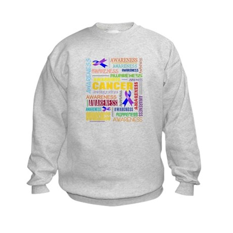 Bladder Cancer Awareness Collage Kids Sweatshirt