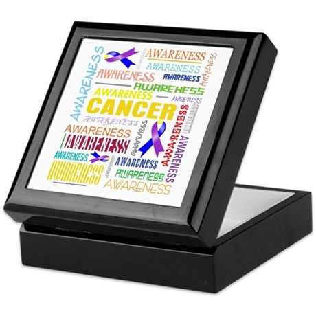 Bladder Cancer Awareness Collage Keepsake Box