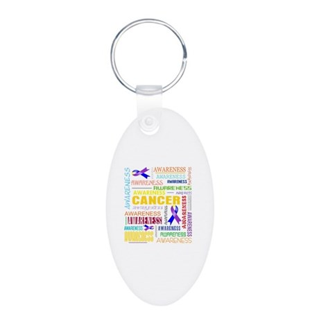 Bladder Cancer Awareness Collage Aluminum Oval Key