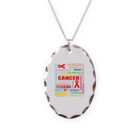 Blood Cancer Awareness Collage Necklace Oval Charm