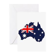 Australia Flag Map Greeting Card