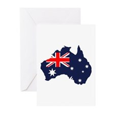 Australia Flag Map Greeting Cards (Pk of 10)