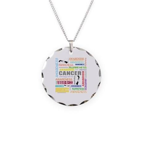 Carcinoid Cancer Awareness Collage Necklace Circle