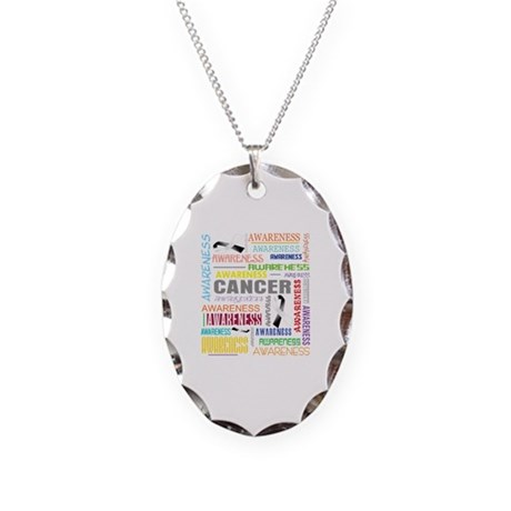 Carcinoid Cancer Awareness Collage Necklace Oval C
