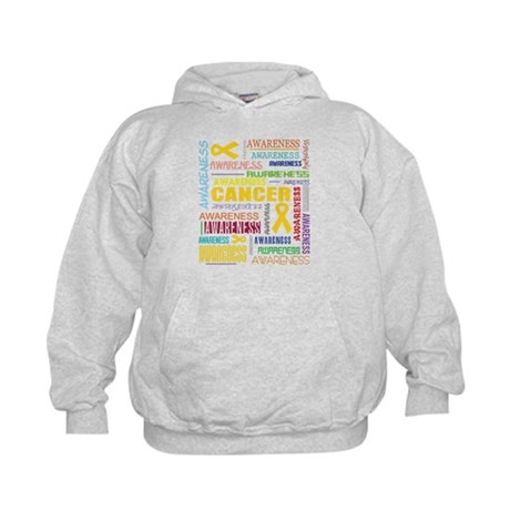 Childhood Cancer Awareness Collage Kids Hoodie