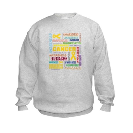 Childhood Cancer Awareness Collage Kids Sweatshirt