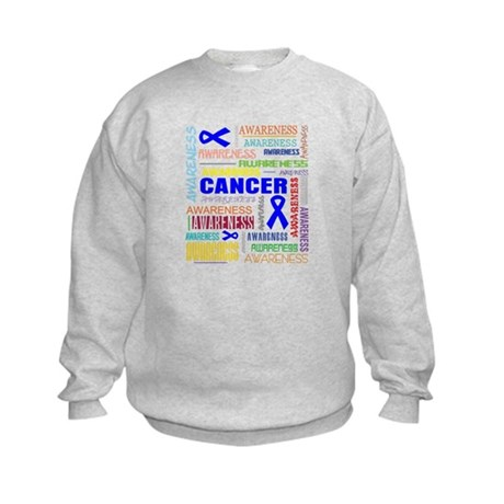 Colon Cancer Awareness Collage Kids Sweatshirt
