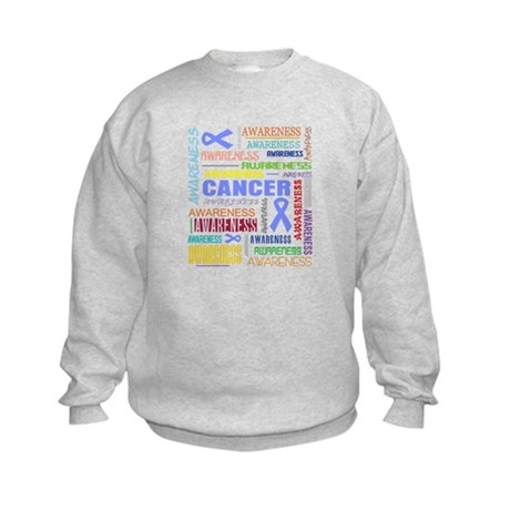 Esophageal Cancer Awareness Collage Kids Sweatshir