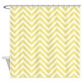 Yellow Chevron Stripes Shower Curtain