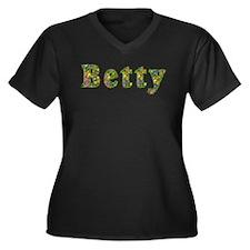 Betty Floral Women's Plus Size V-Neck Dark T-Shirt