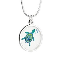 Ocean Doctor Sea Turtle Silver Round Necklace