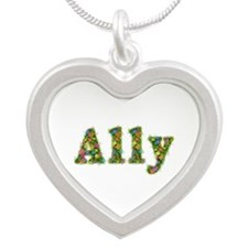 Ally Floral Silver Heart Necklace