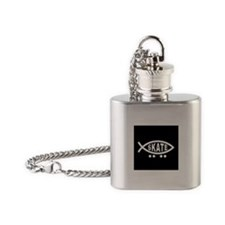 Skating Fish Flask Necklace (black)