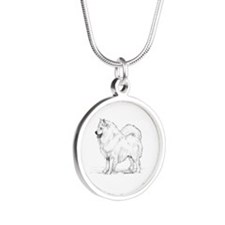 Samoyed Silver Round Necklace