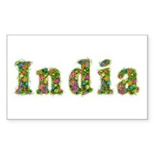 India Floral Rectangle Decal