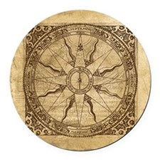 Old Compass Rose Round Car Magnet