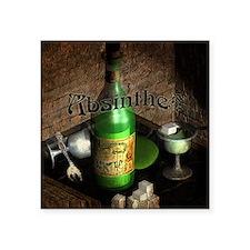 "Absinthe Still Life On Tray Square Sticker 3"" x 3"""