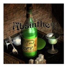 "Absinthe Still Life On Tray Square Car Magnet 3"" x"